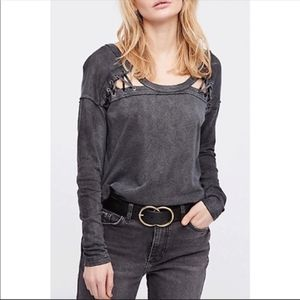 Free People First Love Lace Up long sleeve Top